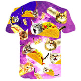Mens 3D Printing T Shirts Pizza Pie Cat Pattern Tees