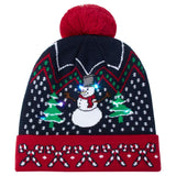 2019 Womens Mens Flashing Light Up Knitted Hat Snowman Printed Christmas Beanie Hats Holiday Cap