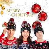 2019 Light Up Holiday Cap Christmas Tree Pattern X-Mas Hat with LED Lights