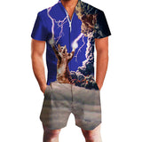 Men's Rompers Zipper Crazy Lightning Cat Printed Jumpsuits