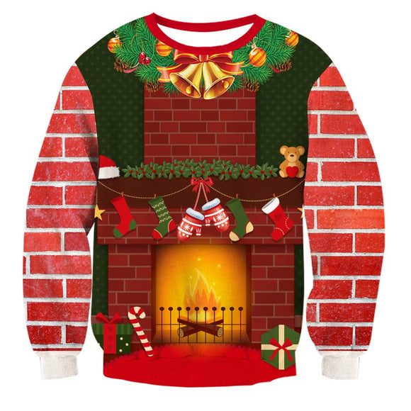 Mens Pullover Sweatshirt 3D Printing Christmas Party Pattern
