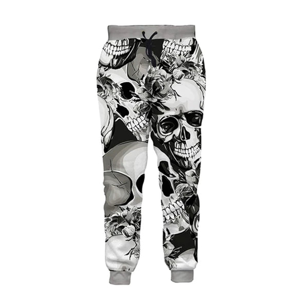 Mens Jogger Pants 3D Printing Smile Skull Pattern Trouser