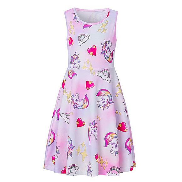 Girls Unicorn Dresses Playwear Skater Dress