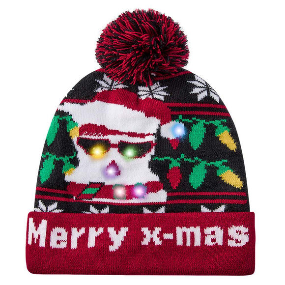 2019 Light Up Hat with 6 Colorful Lights Ugly LED Christmas Hat Alpaca Knitted Sweater Xmas Party Beanie Cap