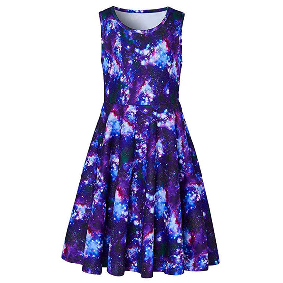 Girls Galaxy Printed Sleeveless Dress