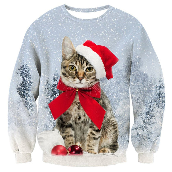 Mens Pullover Sweatshirt 3D Printing Christmas Cat Pattern