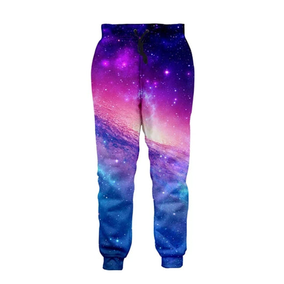 Mens Jogger Pants 3D Printing Colorful Galaxy Pattern Trousers