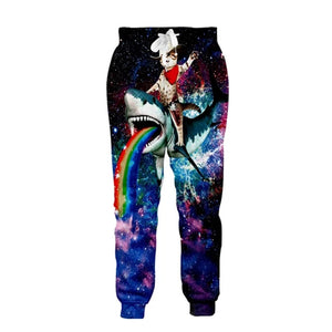 Mens Jogger Pants 3D Printing Shark Cat Pattern Trousers