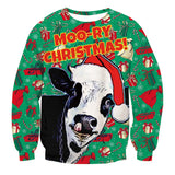 Mens Pullover Sweatshirt 3D Printing Christmas Cow Pattern