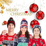2019 Flashing Light Bottoms Up Dark Blue Hat with Lights Knitted Light Hat for Christmas Party