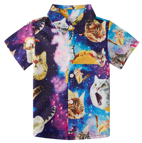Little Boy's Button Down Shirts Galaxy Cat Dress Shirt for Toddler
