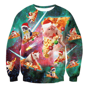 Mens Pullover Sweatshirt 3D Printing Cat Pizza Pattern