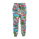 Mens Jogger Pants 3D Printing Tropical Flamingo Pattern Trousers