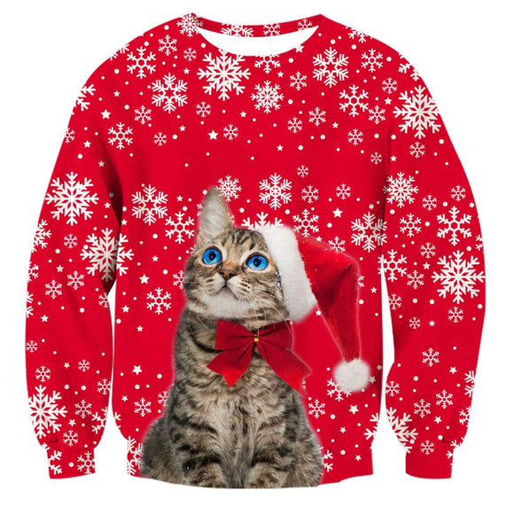Mens Pullover Sweatshirt 3D Printed Cat Christmas Pattern