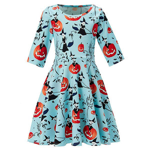Girls Pumpkin Skull Halloween Dress