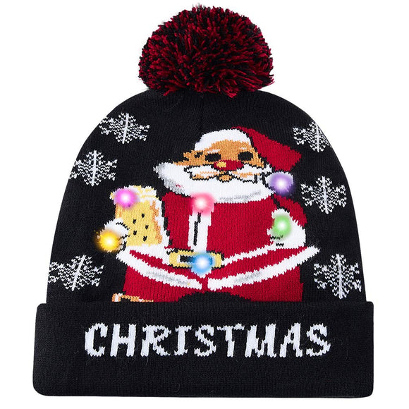 2019 Funny Santa Claus Drinking Printed Led Light Knitted Christmas Hat Holiday Xmas Beanie