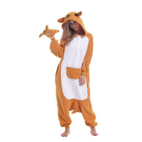 Kangaroo Animal Onesie Pajamas Halloween Cosplay Costume for Women and Girls