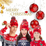 2019 Christmas Red Hat with 6 Colorful Lights Knitwear It's LIT Xmas Beanie Hat for Mens Womens