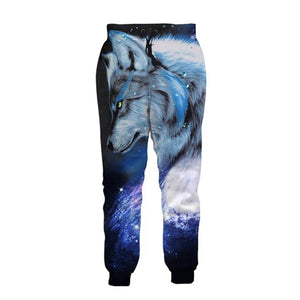 Mens Jogger Pants 3D Printing Wolf Moon Pattern Trousers