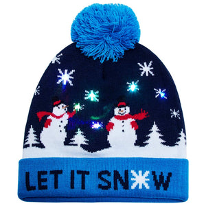 2019 Colorful Light Up Christmas Hat LET IT Snow Xmas Element Knitted Beanie Hat Caps