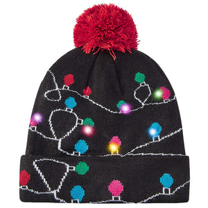 LED Light-up Knitted Ugly Sweater Holiday Black Hat Xmas Christmas Beanies for Christmas Party