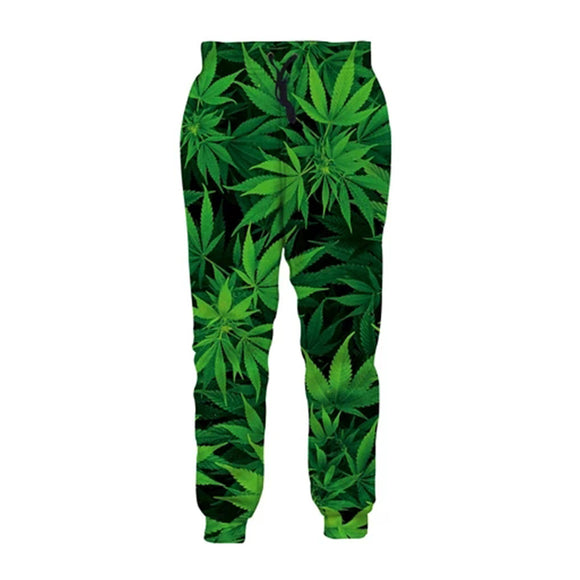 Mens Jogger Pants 3D Printing Green Weed Leaves Pattern Sweatpants