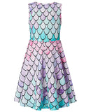 Girls Mermaid Round Neck Sleeveless Dress