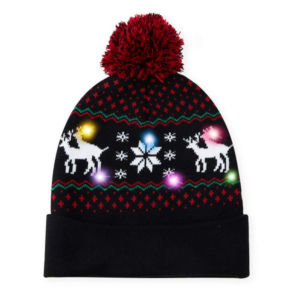 2019 Light Up Holiday Cap Xmas Reindeer Pattern X-Mas Black Hat Christmas Kintwear with LED Lights