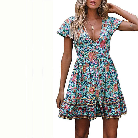 Women's Summer Bohemian Floral Printed Short Sleeve V Neck Button Ruffle Swing Beach Mini Dress