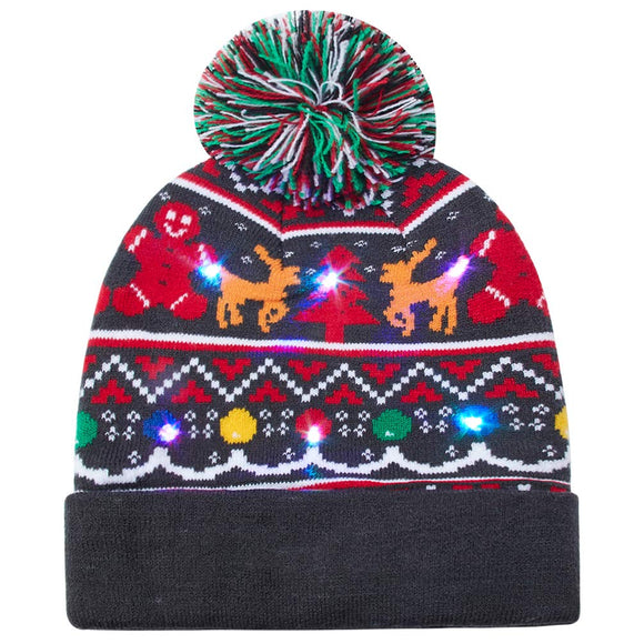 2019 Men Women LED Light Up Beanie Hat Reindeer Knit Cap for Christmas Ugly Sweater Beanies