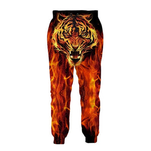 Mens Jogger Pants 3D Printing Fire Tiger Pattern Trousers