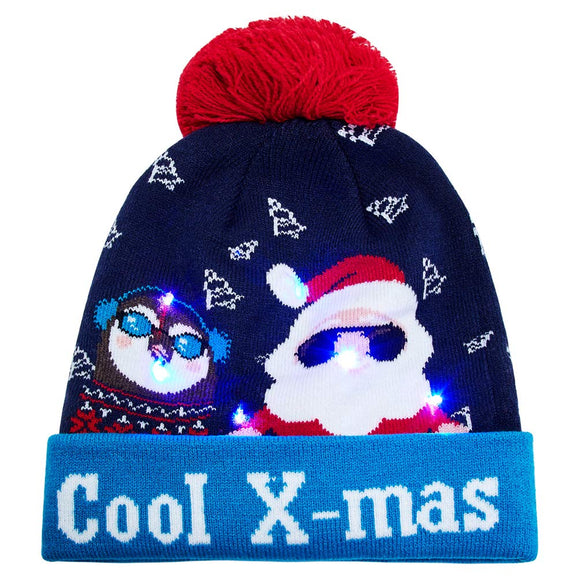 2019 Cool X-mas Christmas Hats with LED Light Up Ugly Sweater Holiday Knitted Beanie Cap