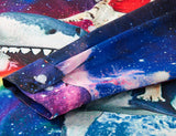 Mens Shirts Galaxy Cat on Rainbow Shark Printed Blouse