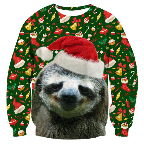 Mens Pullover Sweatshirt 3D Printing Christmas Sloth Pattern