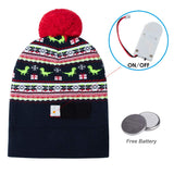 New Light Up Hat with 6 Colorful Dinosaur Pattern Christmas Beanie for Party Gift Knitted LED Lamp Cap