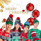 2019 Funny Ho Ho Ho Christmas Dark Blue Hats for Men Women Knitted Light Hat Holiday Party Hats