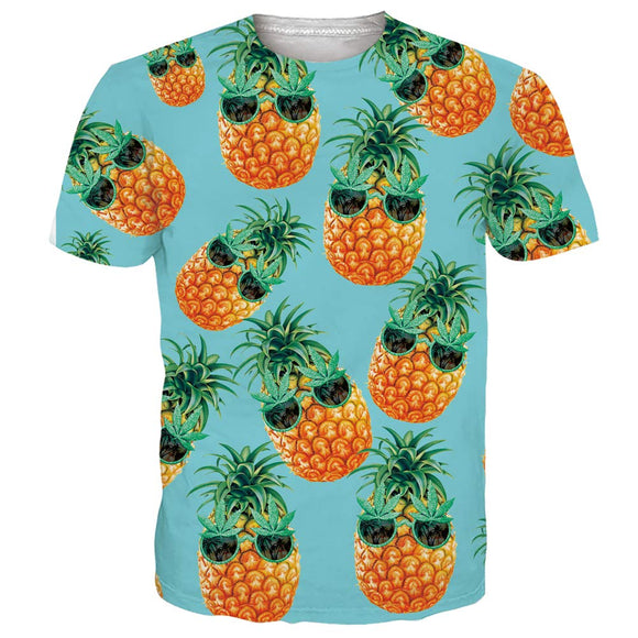 Mens T Shirt Hawaiian Glasses Pineapple Printing Pattern Tee