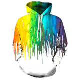 Mens Hoodies 3D Printing Colorful Printed Pattern Hooded