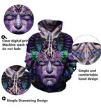 Mens Hoodies 3D Printing Abstract Face Printed Pattern Hooded