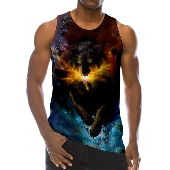 Mens Tank Tops 3D Printing Wolf in Fire Print Vest