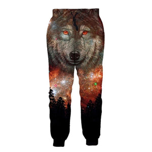 Mens Jogger Pants 3D Printing Galaxy Wolf Pattern Trousers
