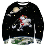 Funny Santa Riding in Galaxy Space Shirt Ugly Christmas Sweater