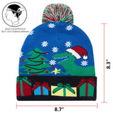 Raisevern Light-up Knitted Ugly Sweater Cap Cartoon Pattern Christmas Light Hat for Party Lightshow