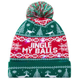 2019 Christmas Light Up Green Hat JINGEL My Balls Printed Flashing Beanie Cap Winter Snow Sweater Hat Beanies