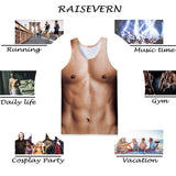 Mens Tank Tops 3D Printing Muscle Bare Chest Pattern