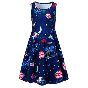 Little Girls Space Planet Pattern Dresses