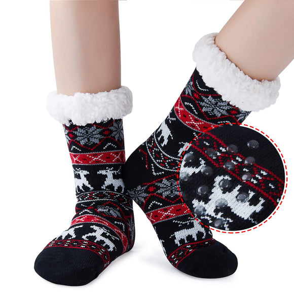 2019 Women Girls Xmas Black Socks Winter Fleece Lining Snowflake Deer Christmas Slipper Socks