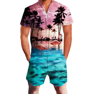 Men's Romper Fashion Palm Tree Flamingos Hawaiian Jumpsuits