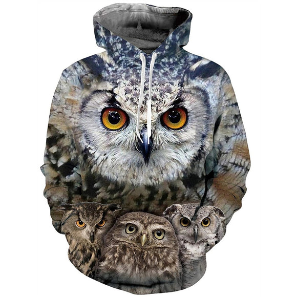 Mens Hoodies 3D Printing Owl Printed Pattern Hooded