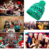 2019 Christmas Caps for Men Women Ugly Knitted Beanie Green Hats with 6 Colorful Lights